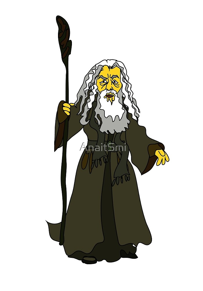 A white-haired old man with a stick in rags by AnaitSmi