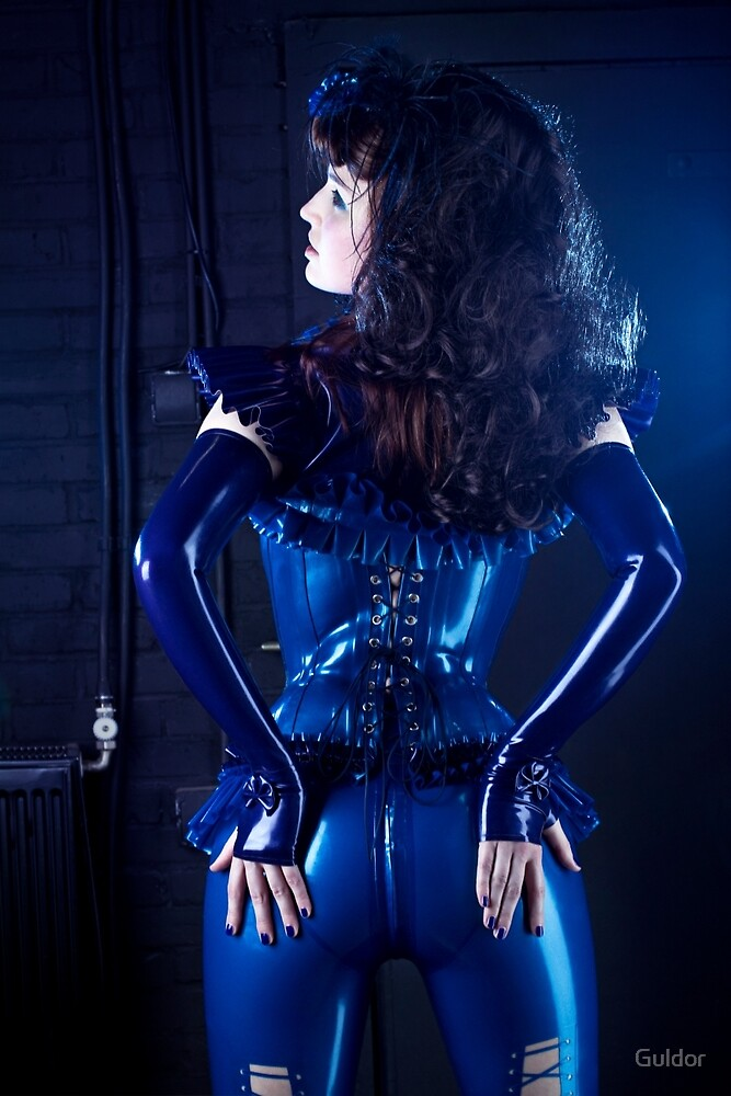 Blue latex corset 02 by Guldor