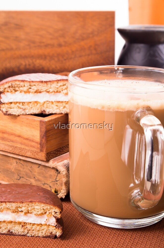 Big mug of hot cocoa with foam and chocolate biscuit halves by vladromensky