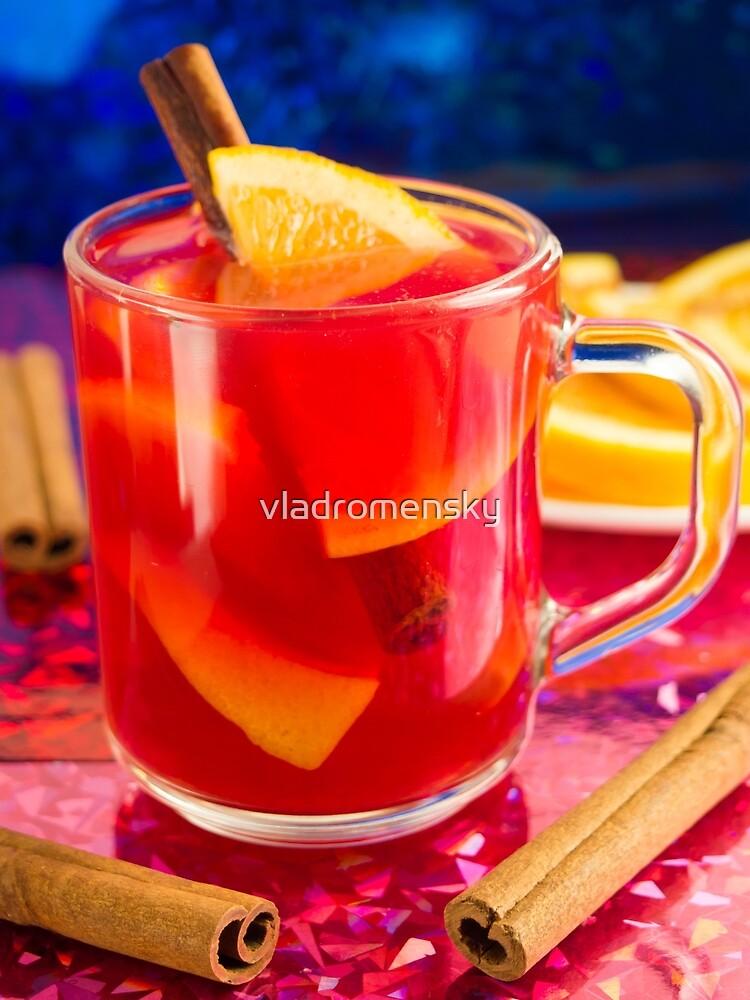 Transparent mug with citrus mulled wine by vladromensky