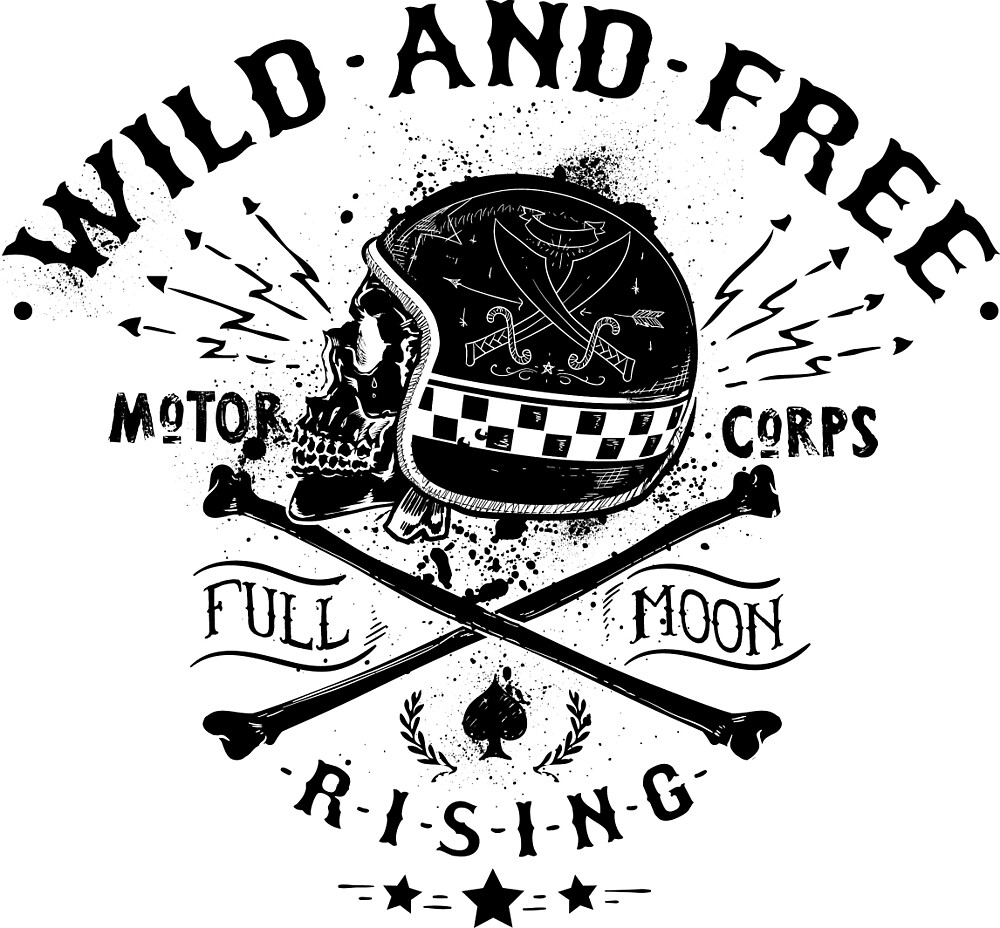 Wild and free - biking skull motor  by CorvusAttic