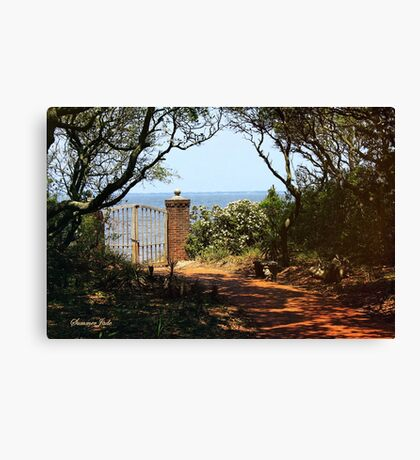 Wooden Gate with Padlock and Chain Canvas Print