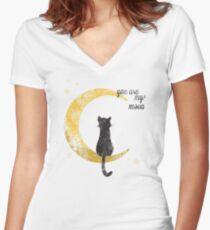 My Moon Women's Fitted V-Neck T-Shirt