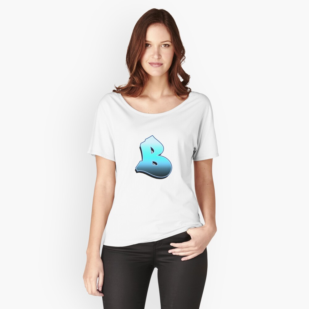 Letter B - Blue Fade Women's Relaxed Fit T-Shirt Front