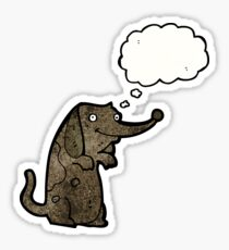 funny little dog with thought bubble Sticker