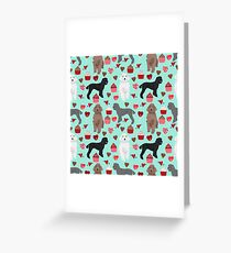 Poodles valentines day love hearts cupcakes pattern dog breed art print gifts for dog lover poodle by PetFriendly Greeting Card