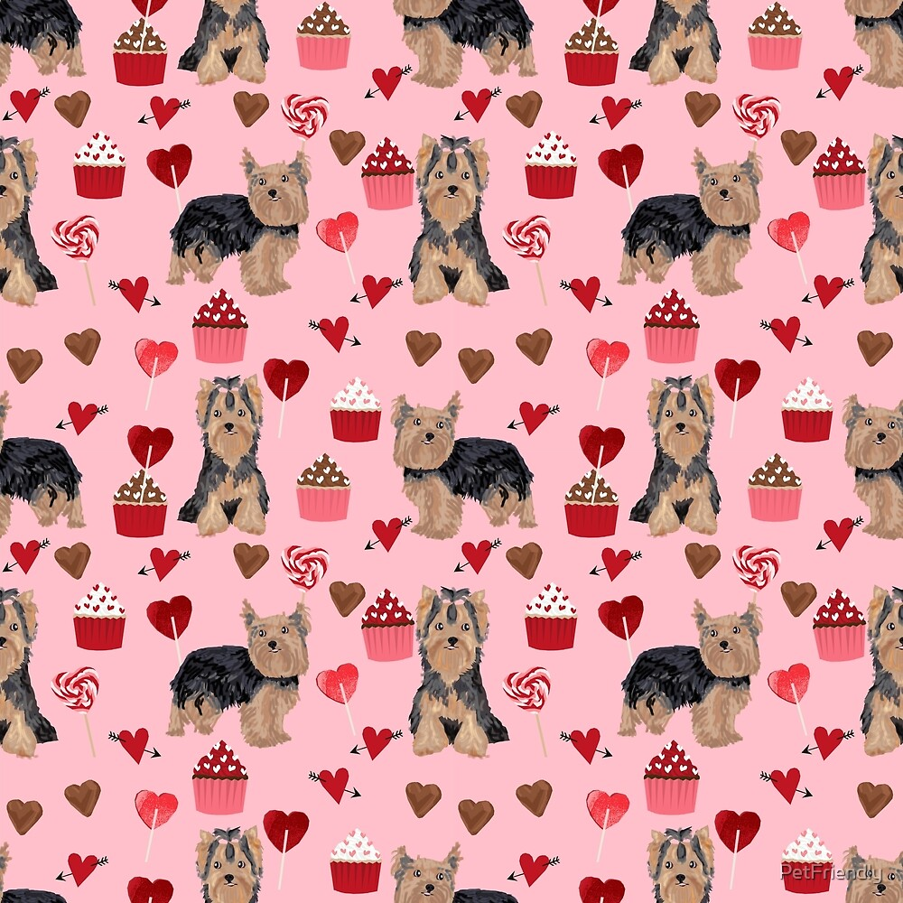 Yorkie valentines day yorkshire terrier hearts cupcakes dog breeds dog gifts pet portraits by PetFriendly by PetFriendly