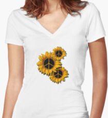 Sunflower Peace Women's Fitted V-Neck T-Shirt