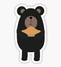 Black Bear with pie Sticker