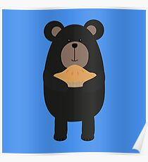 Black Bear with pie Poster
