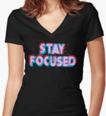Stay Focused Women's Fitted V-Neck T-Shirt