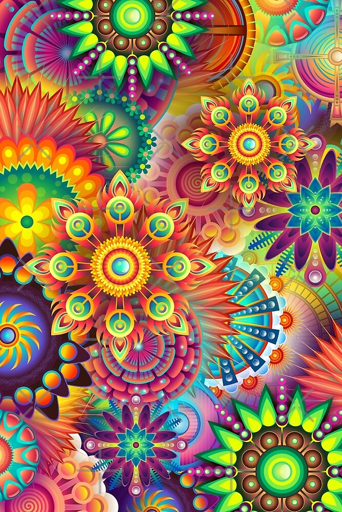 Psychedelic colorful modern digital art by pixxart