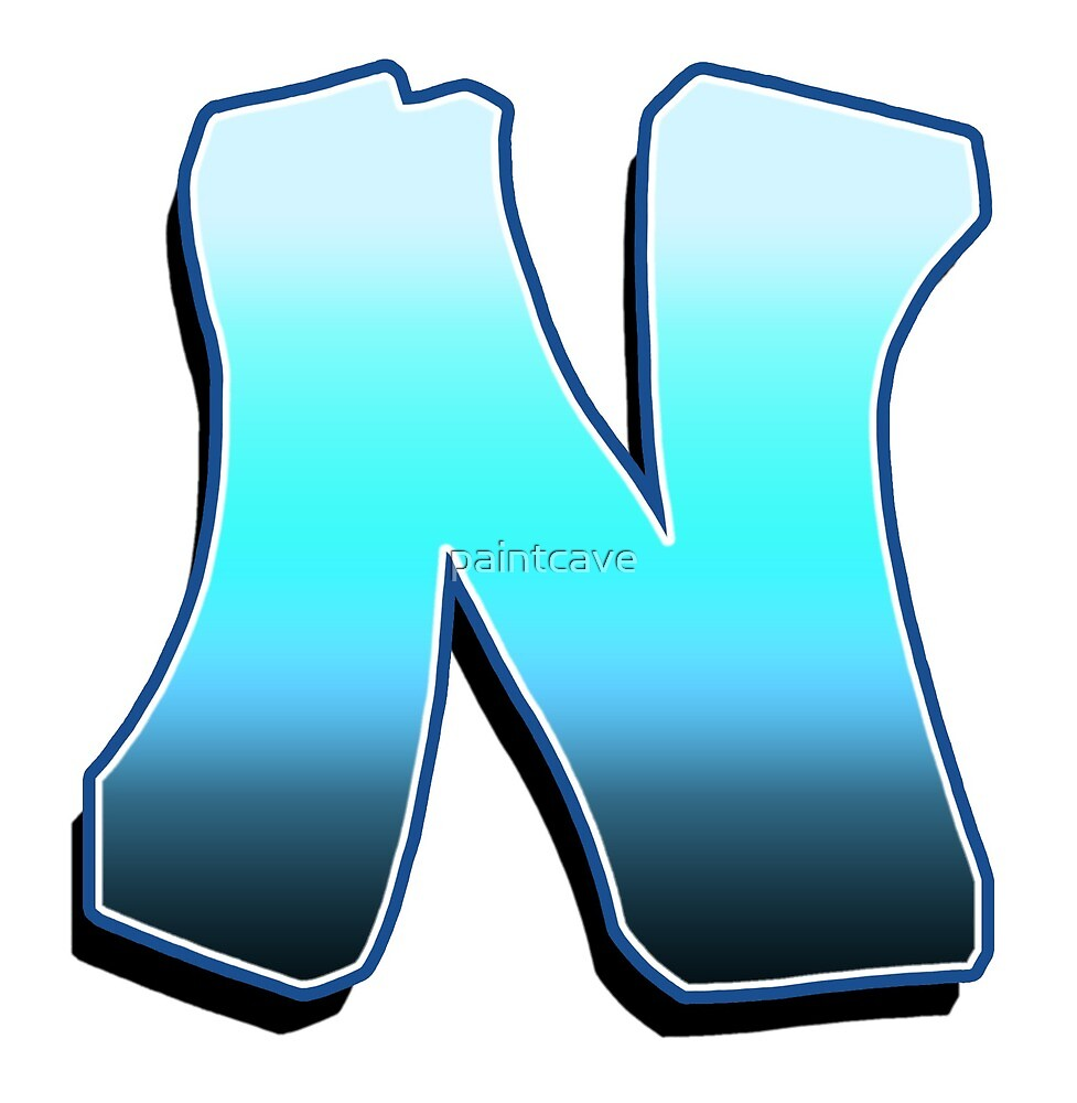 Letter N - Blue Fade by paintcave