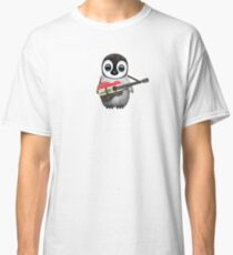 Baby Penguin Playing Iraqi Flag Guitar Classic T-Shirt