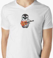 Baby Penguin Playing Macedonian Flag Guitar Men's V-Neck T-Shirt