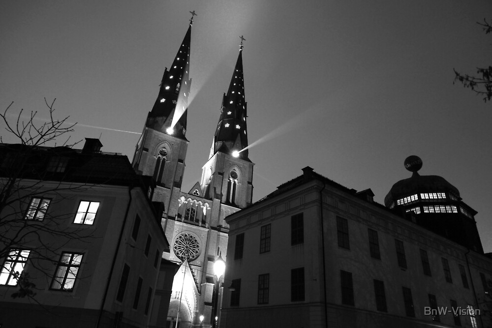 Uppsala Cathedral at Night by BnW-Vision