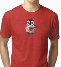 Baby Penguin Playing Maltese Flag Guitar Tri-blend T-Shirt