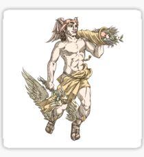 Flying Hermes, in sepia Sticker
