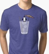 Penguin on the rocks Tri-blend T-Shirt