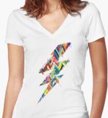 grafische Beleuchtung Shirt mit V-Ausschnitt