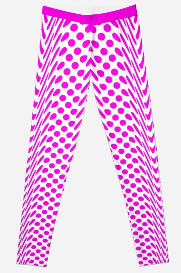 Shocking Pink Warped Polka Dot (Large Spots) Leggings by SeaFruit