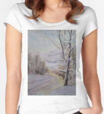 Last Winter Sunset Snow Scene Women's Fitted Scoop T-Shirt