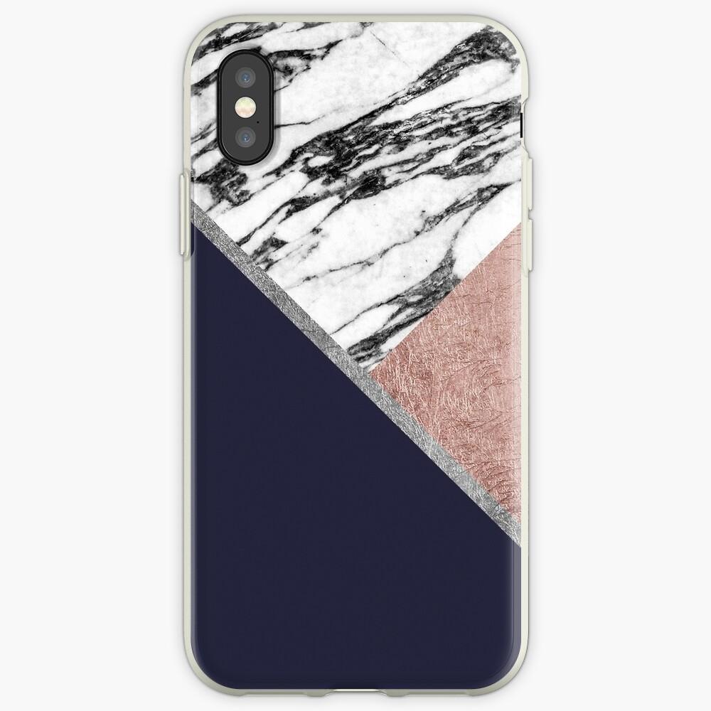 Marmor Rose Gold Marineblau Dreieck Geometrisch iPhone-Hülle & Cover