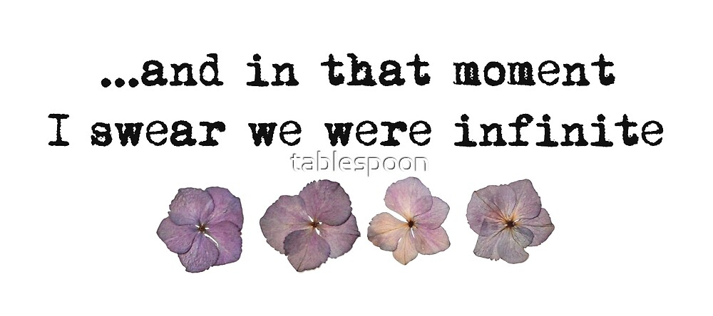 and in that moment I swear we were infinite - pressed flowers by tablespoon