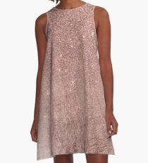 Girly Glam Pink Rose Gold Foil and Glitter Mesh A-Line Dress