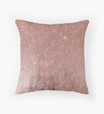 Cojín Girly Glam Pink Rose Gold Foil y Glitter Mesh