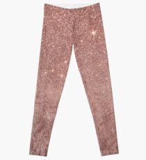 Girly Glam Pink Rose Gold Folie und Glitter Mesh Leggings