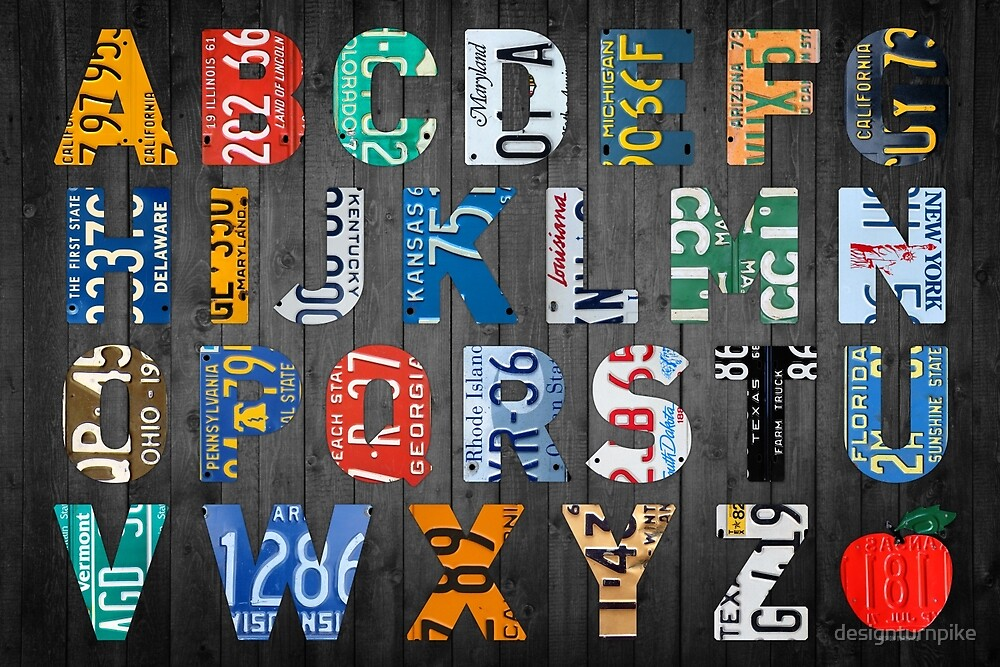 Alphabet Letters Recycled Vintage Colorful License Plate Art by designturnpike