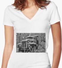 Mack Truck Black And White Women's Fitted V-Neck T-Shirt