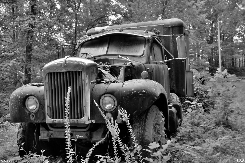 Mack Truck Black And White by LisaWootenPhoto
