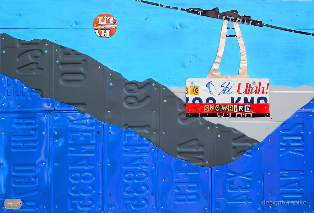 Ski Lift Utah Snow Bird Recycled Vintage License Plate Art by designturnpike