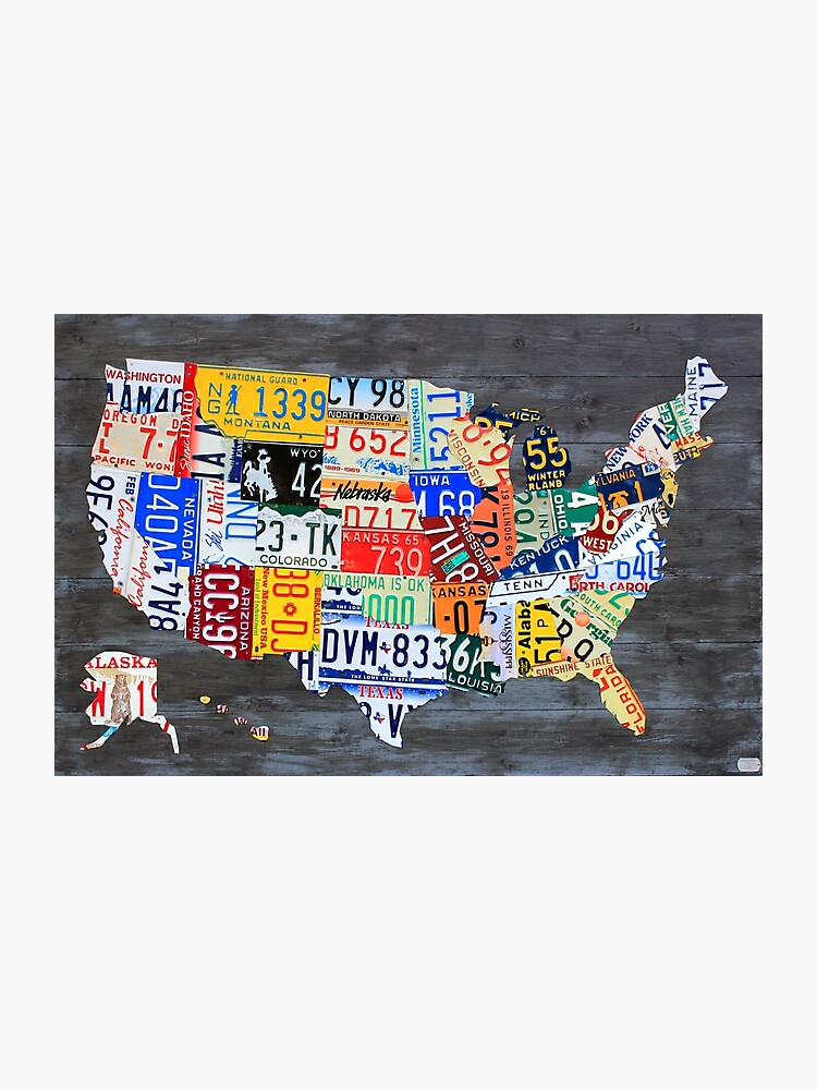 Map Of America 2017.License Plate Map Of America On Gray 2017 Edition Photographic Print