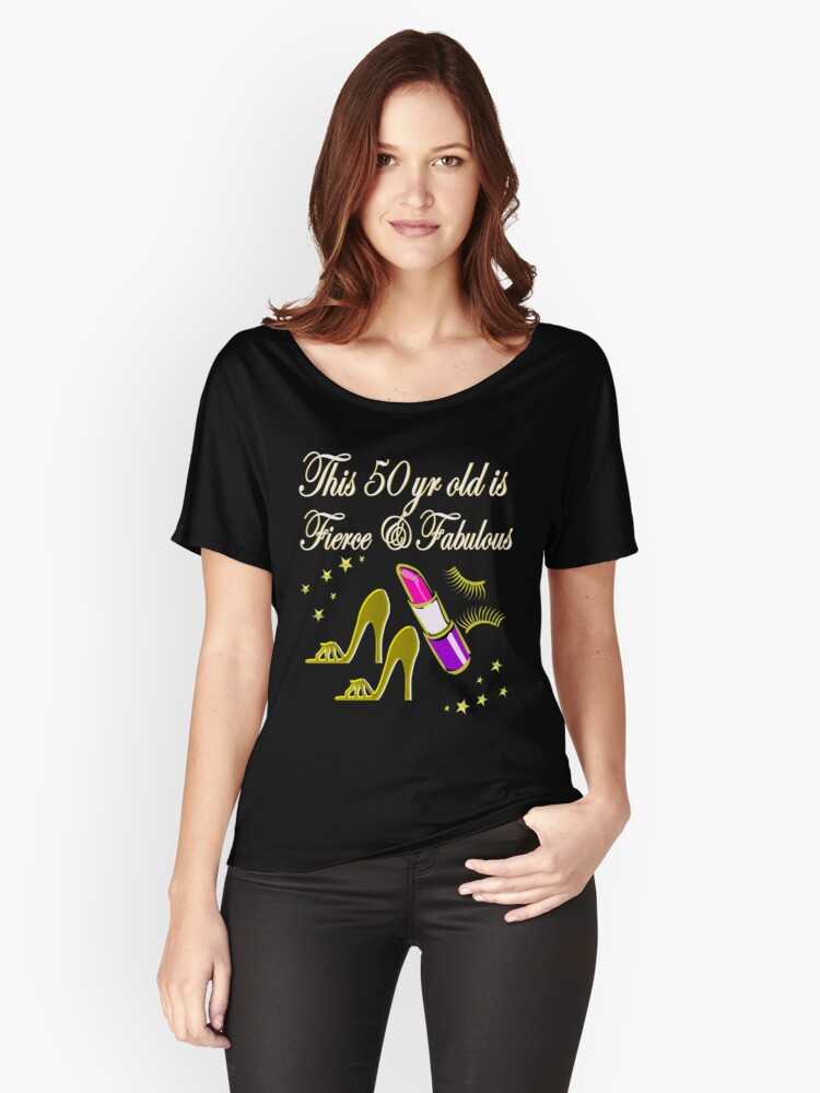 GOLD AND GLAMOROUS 50TH BIRTHDAY Womens Relaxed Fit T Shirt Front