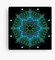 Kaleidoscope fantasy on lighted peacock shape Canvas Print