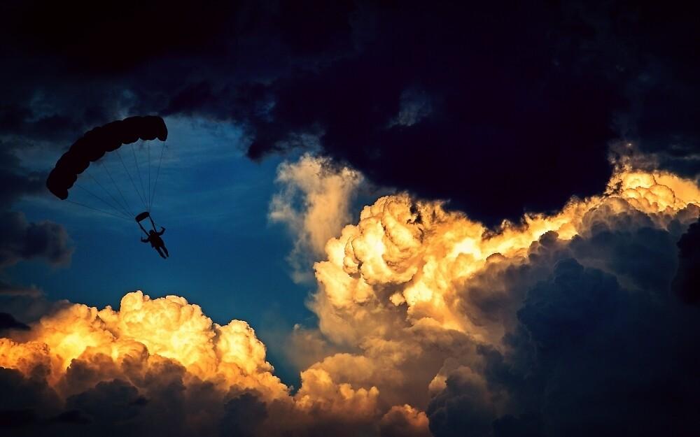 Paraglide in the clouds by eleyne
