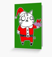 Zombie  Santa  Cat Greeting Card