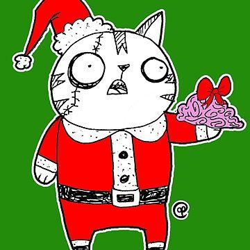 Zombie  Santa  Cat by jrock1184
