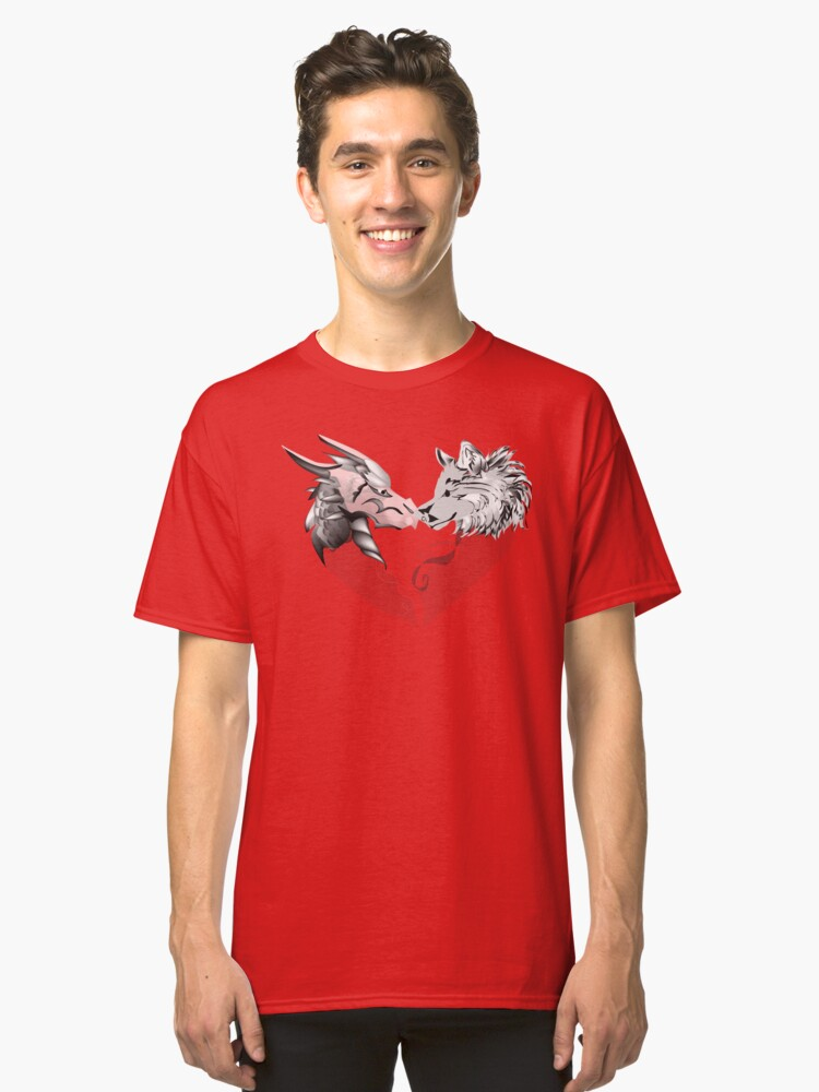 Dragon & Wolf heart illustration Classic T-Shirt Front