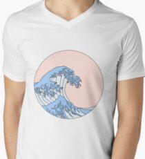 ästhetische Welle T-Shirt mit V-Ausschnitt für Männer