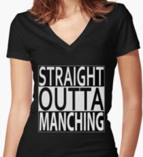 Straight Outta Manching Women's Fitted V-Neck T-Shirt