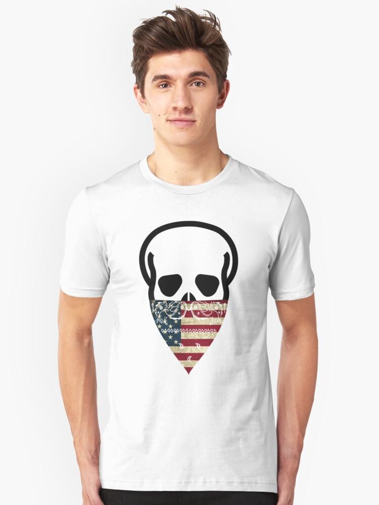USA Skull Gangster Unisex T-Shirt Front
