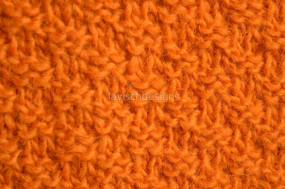 Double seed stitch knitting in bright orange by lavischdesigns