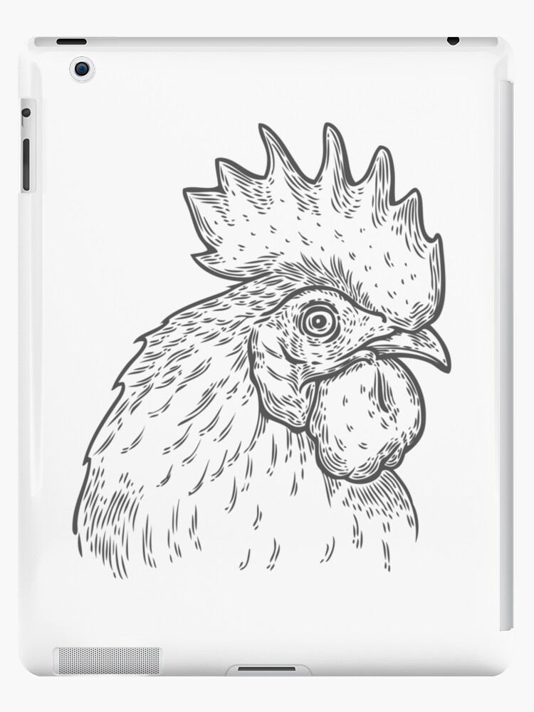 Hand Drawn Rooster Cock Head Vector Illustration Farm Animals Vintage Engraving Style Sketch