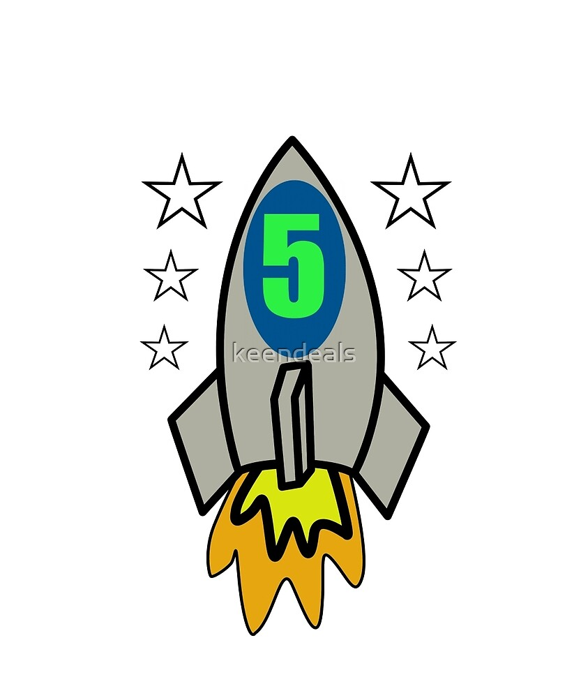 Birthday Boy 5 Years Old T-Shirt Rocket Astronaut Gift by keendeals