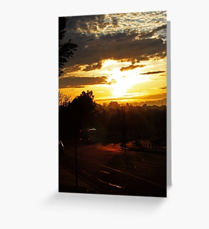 Bus At Dawn Greeting Card