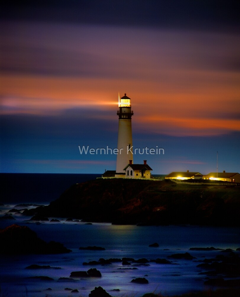 Pigeon Point Lighthouse Shining Light into the Darkness by Wernher Krutein